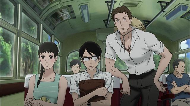 千太郎、薫、律子、海へ向かうバス