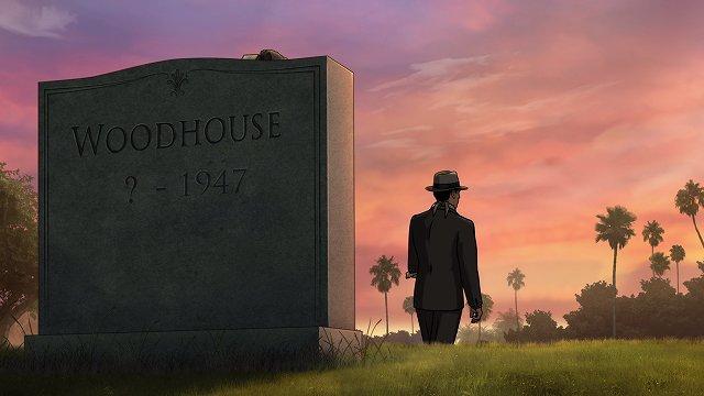 ウッドハウスの墓を後にするアーチャー